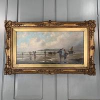 Antique marine seascape oil painting of fishing scene signed W Richards 2 of 2 (5 of 10)