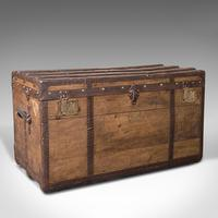 Large Antique Steamer Trunk, English, Pine, Travel, Shipping Chest, Victorian