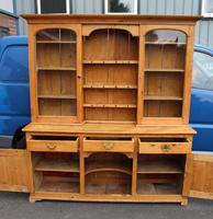 1900's Large Country Pine Dresser with Glass Doors (2 of 4)