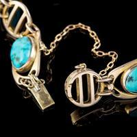 Antique Victorian Art Nouveau Turquoise Matrix Bracelet 9ct Gold Murrle Bennett Circa 1900 (6 of 7)