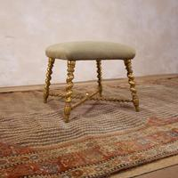 19th Century French Square Giltwood & Upholstered Stool Ottoman - Table (3 of 10)