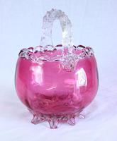Antique Victorian Cranberry Glass Basket