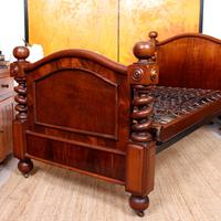 Bed Frame Edwardian Carved Mahogany Barley Twist (7 of 11)