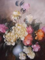 Large Oil on Canvas Bowl of Roses Signed (free Shipping to Mainland England (8 of 12)