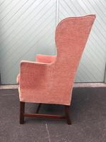 Antique English Mahogany Upholstered Wing Armchair (7 of 10)