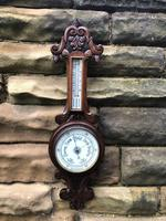 Antique Carved Oak Aneroid Barometer