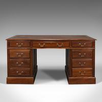 Antique Partner's Desk, English, Mahogany, Leather, Writing Table, Edwardian (2 of 12)