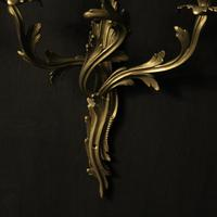 French Pair of Triple Arm Brass Wall Lights (9 of 10)