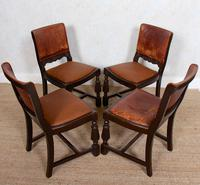 4 Carved Oak Leather Dining Chairs (12 of 12)