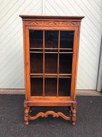 Antique Slim Glazed Oak Bookcase