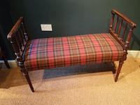 Fine Antique Upholstered Mahogany Reeded Leg Double Stool (2 of 5)