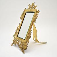 Antique Art Nouveau Brass Table Top Mirror / Picture Frame (3 of 7)