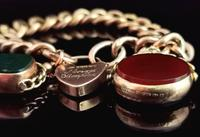 Antique 9ct Gold Curb Bracelet, Spinning Fobs (8 of 15)