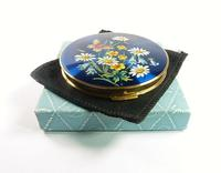 1950s Blue Enamel Stratton Compact Mirror with Butterfly Unused (4 of 8)