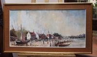 Large Oil on Canvas Dockside View Listed Artist Ira Englefield (12 of 12)