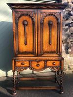 Antique Oak Barley Twist Cabinet on Stand (8 of 10)