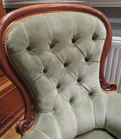 Victorian Walnut Armchair Recently Upholstered 1880 (3 of 7)