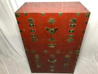 Pair of Late Qing Antique Chinese Dowry Marriage Wedding Brass Bound Red Lacquer Chests (3 of 54)