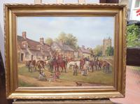 Oil on Board 'a hunting we do go' Artist R M Crompton 1930s (3 of 10)