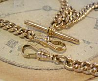 Victorian Pocket Watch Chain 1890s Large 10ct Rose Gold Filled Double Albert & T Bar (8 of 11)