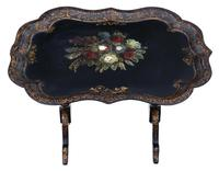 Victorian Tilt Top Decorated Black Lacquer Tray Top Coffee Table