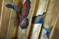 5ft Vintage Oriental Hand Painted Gold Wall Fan with Butterflies (2 of 10)