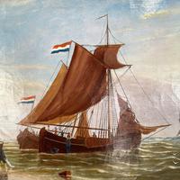 Antique Marine Seascape Coastal Oil Painting of Dutch Sailing Barges Signed J Witham 1898 (5 of 10)