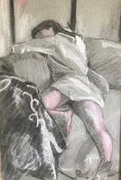 Original pastel 'Sleeping figure' by Dennis Gilbert NEAC. B.1922. From a studio collection (2 of 2)