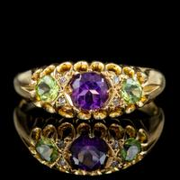 Antique Suffragette Ring Amethyst Peridot Diamond 18ct Gold S Blanckensee And Son Dated 1917 (2 of 8)