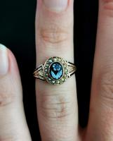 Antique Victorian Mourning Ring, 15ct Gold, Black Enamel & Seed Pearl, Agate Forget me Not (12 of 13)