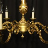 French Gilded Bronze 6 Light Chandelier (6 of 10)