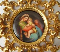 Outstanding 19th Century Florentine Porcelain Plaque Madonna (5 of 8)