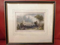 19th Century Hand Coloured Engraving of Saffron Walden Church (2 of 6)