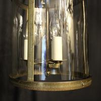 French Gilded Triple Light Antique Convex Hall Lantern (6 of 10)