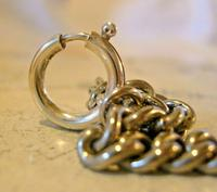 Victorian Pocket Watch Chain 1890s Antique Albo Silver Curb Link Albert With T Bar (11 of 12)