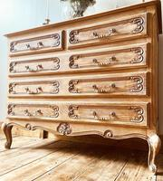 French Antique Style Chest of Drawers / Louis XV Style Raw Oak Chest (9 of 9)