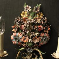 French Pair of Toleware Floral Wall Lights (3 of 10)
