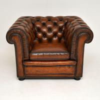 Antique Victorian Style Leather Chesterfield Armchair (8 of 8)