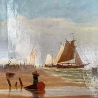 Antique Marine Seascape Coastal Oil Painting of Dutch Sailing Barges Signed J Witham 1898 (6 of 10)