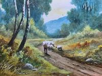 Near Darley Dale 19thc Derbyshire Sheppard Sheep  Landscape Watercolour Painting (4 of 13)