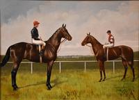 """Oil Painting Pair by Walter Vernon """"Racehorse Scenes"""" (8 of 11)"""