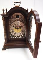 Fine Dutch Walnut Mantel Clock 8 Day Miniature Bracket Clock with Moon Roller (6 of 9)