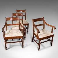 Set of 4, Antique Dining Chairs, English, Mahogany, Pair Of Carvers, Regency (8 of 12)
