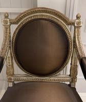 Extremely Fine & Decorative Set of Four 19th Century Italian Painted And Parcel Gilt Armchairs of Neo-Classical Design (3 of 7)
