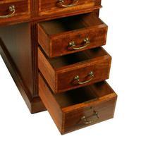 Victorian Mahogany & Satinwood Pedestal Desk (4 of 8)