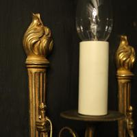 French Pair of Single Gilded Flame Antique Wall Lights (8 of 10)