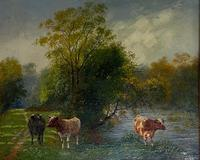 """Oil on Canvas """"Cattle Grazing"""" by Wilson Hepple (2 of 3)"""