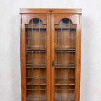 Oak Leaded Glazed Bookcase Arts & Crafts (9 of 10)