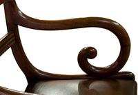 Mahogany Scroll Armchair with Brown Leather Seat (3 of 7)