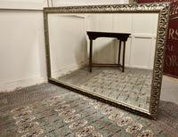 Large 20th Century Arts & Crafts Style Pewter Finish Wall Mirror (7 of 8)